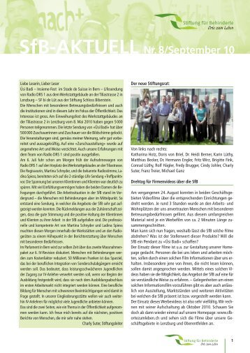 SfB-AKTUELL Nr. 8/September 10 - Orte zum Leben