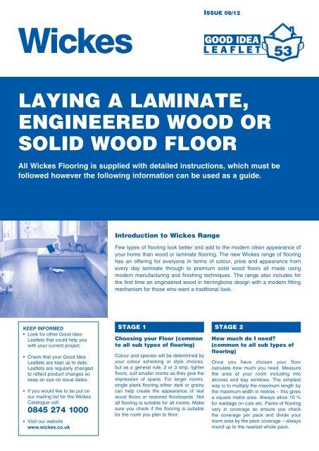 Laying A Laminate Engineered Wood Or Solid Wickes