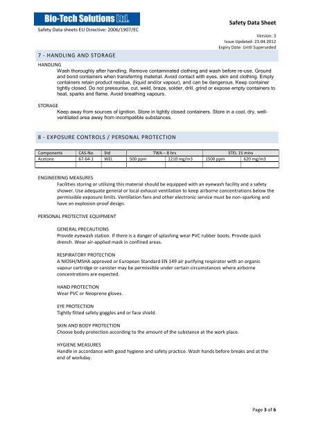 Nail Varnish Remover (Acetone) MSDS Sheet