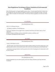 State Regulations Pertaining to Dietary Sanitation & Environmental ...