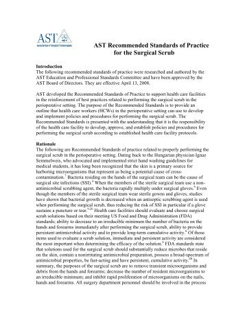 AST Recommended Standards of Practice for the Surgical Scrub