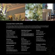 SUGGESTED SUPPLIERS - RCPE Venue