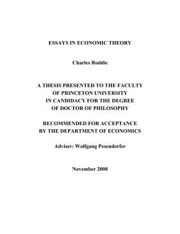 Essays In Index Number Theory Selected Works   Economics Essays In Economic Theory Charles Roddie A Thesis