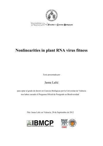 Nonlinearities in plant RNA virus fitness - Universitat de València