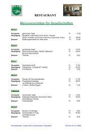 RESTAURANT Menuvorschläge für ... - Restaurant - In der Au