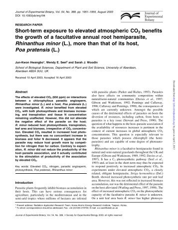 Short-term exposure to elevated atmospheric CO2 benefits the ...