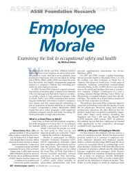 Employee Morale - American Society of Safety Engineers