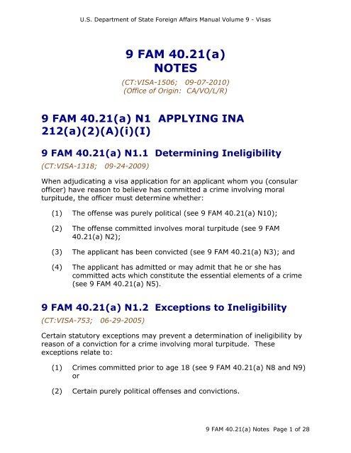 9 Fam 40 21 A Crimes Involving M Turpitude Notes Criminal