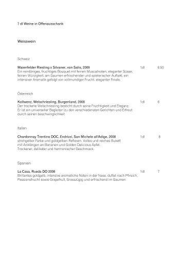 Weinkarte - Restaurant Klein-Waldegg