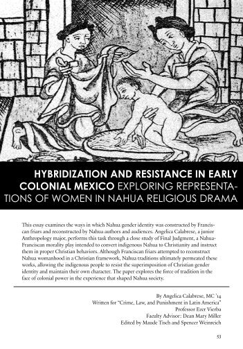 Hybridization and Resistance in Early Colonial ... - Yale University