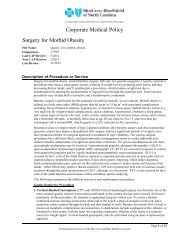 Surgery for Morbid Obesity - Blue Cross and Blue Shield of North ...