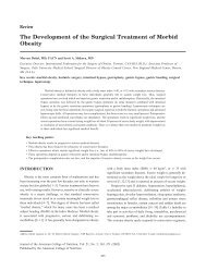 The Development of the Surgical Treatment of Morbid Obesity