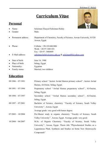 Curriculum Vitae - Aswan