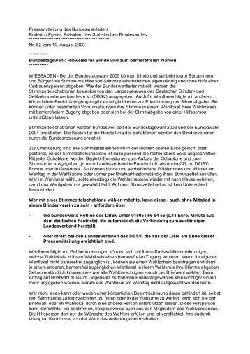 Pressemitteilung des Bundeswahlleiters Roderich Egeler, Präsident ...