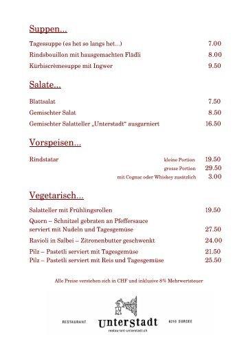 Speisekarte - restaurant-unterstadt.ch