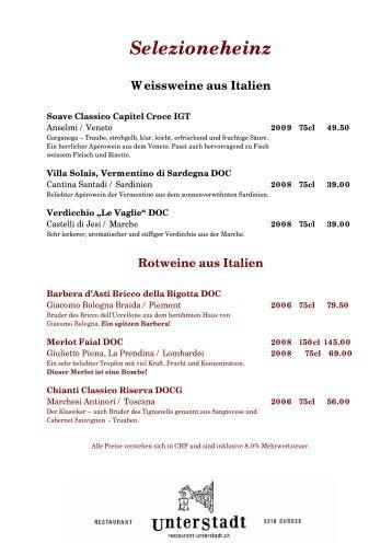 Selezioneheinz Rotweine aus Italien - restaurant-unterstadt.ch