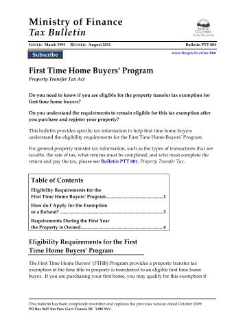 Transfer for First time home buyers plan