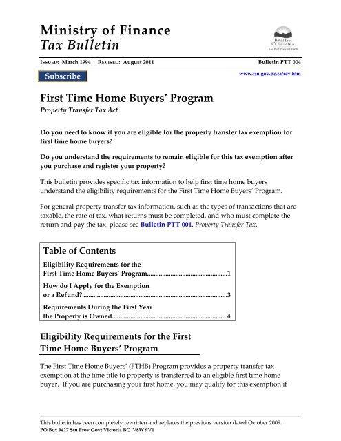 Bulletin Ptt 004 First Time Home Buyers Program