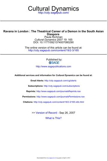 RAVANA IN LONDON The Theatrical Career of a - Cultural ...