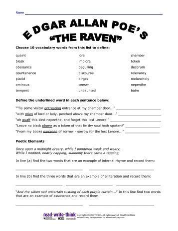 all worksheets edgar allan poe worksheets printable worksheets guide for children and parents. Black Bedroom Furniture Sets. Home Design Ideas