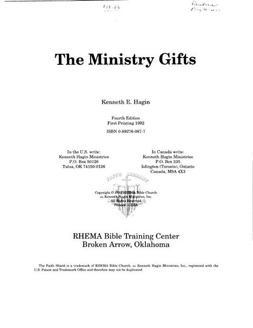Kenneth E Hagin - The Ministry Gifts pdf