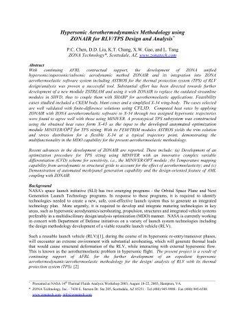 Hypersonic Aerothermodynamics Methodology ... - TFAWS - NASA
