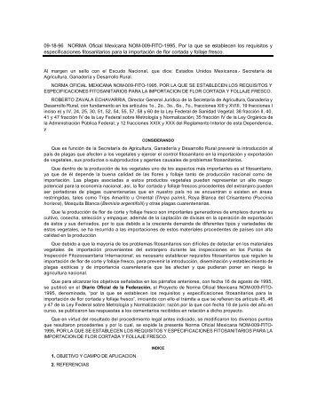 09-18-96 NORMA Oficial Mexicana NOM-009-FITO-1995, Por la que ...
