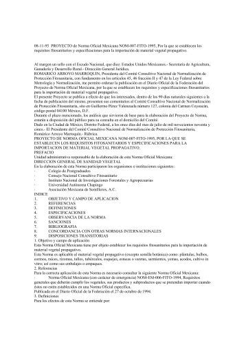 08-11-95 PROYECTO de Norma Oficial Mexicana NOM-007-FITO ...