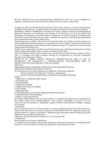 08-16-95 PROYECTO de Norma Oficial Mexicana NOM-009-FITO ...