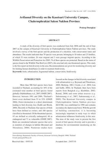 Avifaunal Diversity on the Kasetsart University ... - Kasetsart Journal