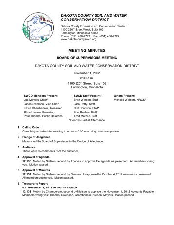 Minutes - Dakota County Soil and Water Conservation District
