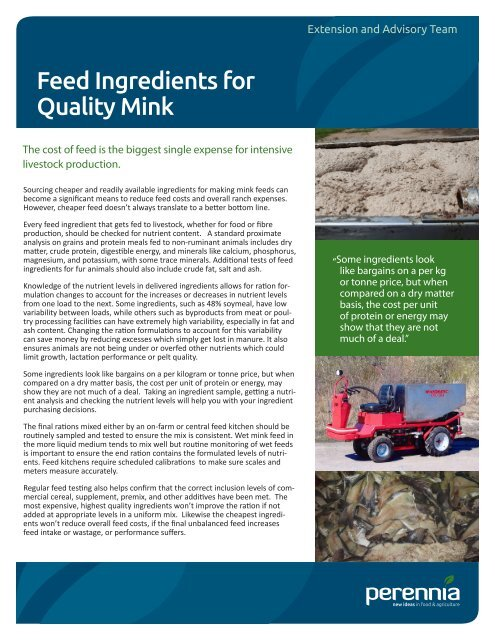 Feed Ingredients For Quality Mink pdf - Perennia