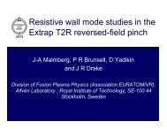 Resistive wall mode studies in the Extrap T2R reversed-field pinch