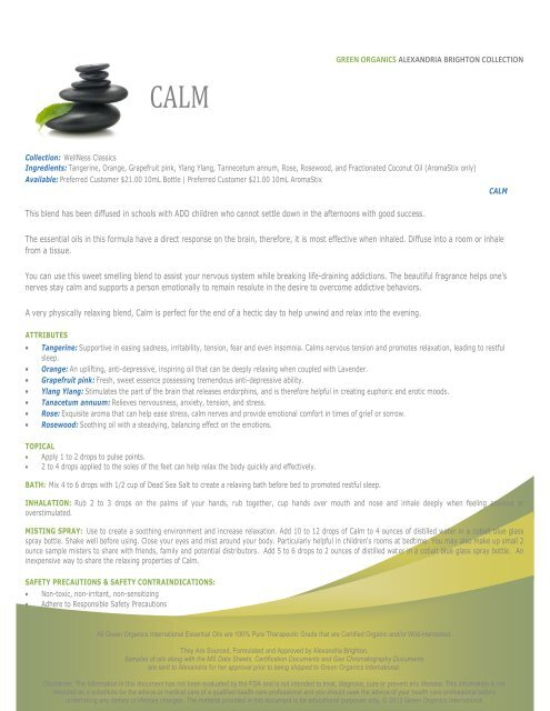 WELLNESS CLASSICS COLLECTION - Green Organics International