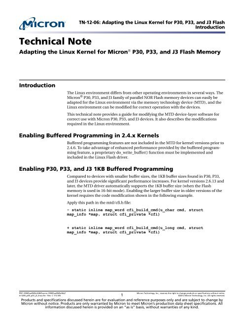 Adapting the Linux Kernel for Micron® P30, P33, and J3 Flash