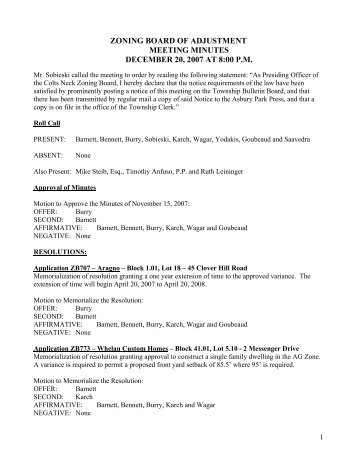 zoning board of adjustment meeting minutes december 20, 2007 at ...