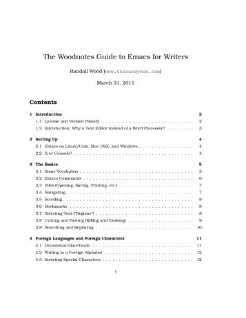The Woodnotes Guide to Emacs for Writers - therandymon.com