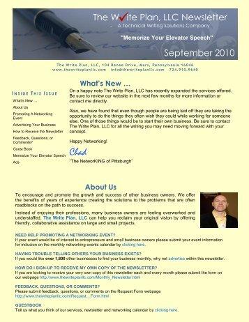 September 2010 - Memorize Your Elevator Speech - The Write Plan ...