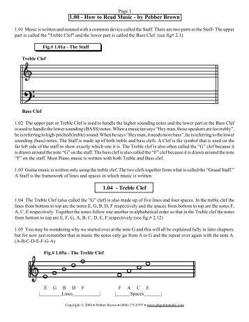 1.00 - How to Read Music - by Pebber Brown ... - PB Guitar Studios