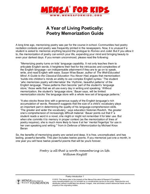 A Year Of Living Poetically Poetry Memorization Mensa