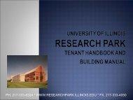 EnterpriseWorks Tenant Handbook - Research Park - University of ...