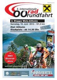2. Etappe Wels-Altheim Samstag, 16. Juni 2012 - 191,5 km Ziel