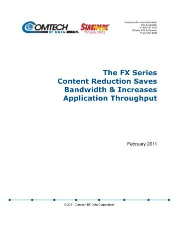 The FX Series Content Reduction Saves ... - Comtech EF Data