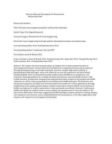 Elsevier Editorial System(tm) for Biomaterials Manuscript Draft ...