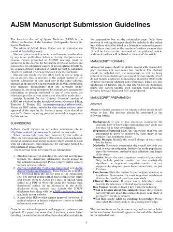 AJSM Manuscript Submission Guidelines - Sage Publications