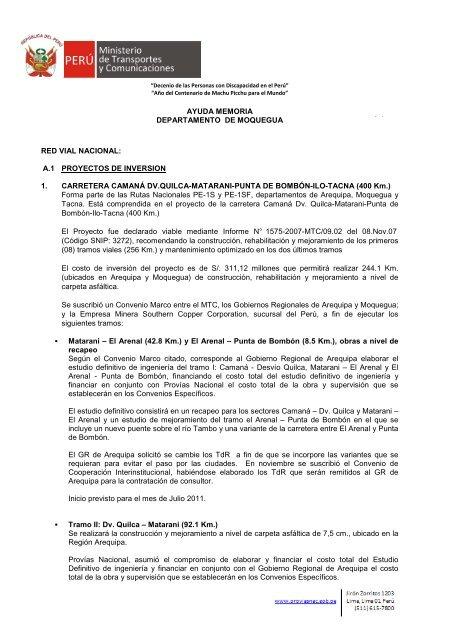 Moquegua Enero 2011 - Provias Nacional