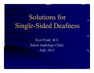 Solutions for Single-Sided Deafness