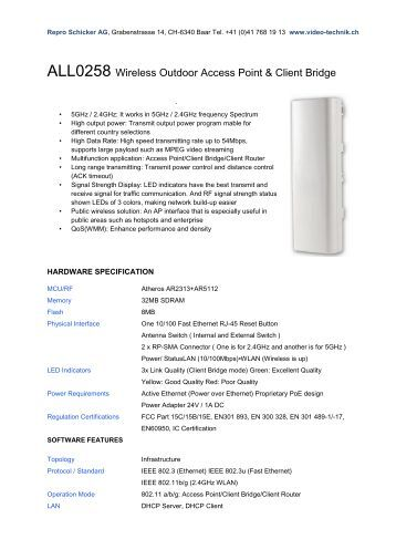 ALL0258 Wireless Outdoor Access Point ... - Repro Schicker AG
