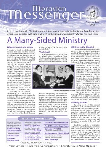 A Many-Sided Ministry - The Moravian Church British Province