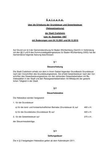 und Gewerbesteuer - Hebesatzsatzung - Crailsheim